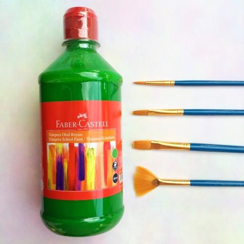 Faber Castell Tempera Okul Boyası 500 ML - Yeşil