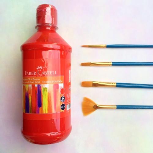 Faber Castell Tempera Okul Boyası 500 ML - Kırmızı