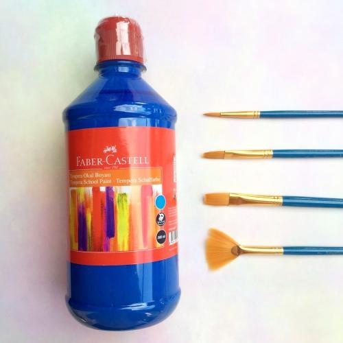 Faber Castell Tempera Okul Boyası 500 ML - Mavi