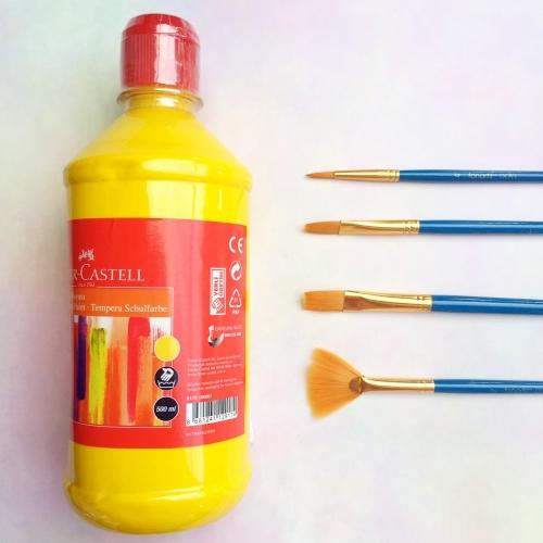 Faber Castell Tempera Okul Boyası 500 ML - Sarı