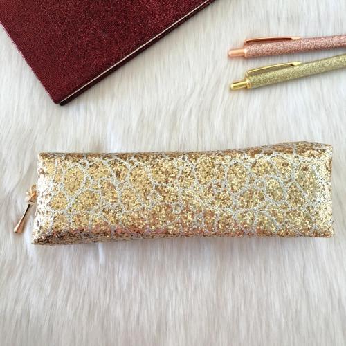 Swarovski Taşlı Yılan Derisi Kalem Kutu - Gold