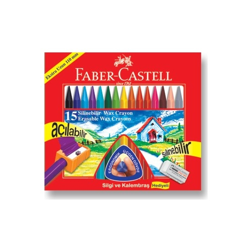 Faber Castell Silinebilir Mum Boya 15 Renk