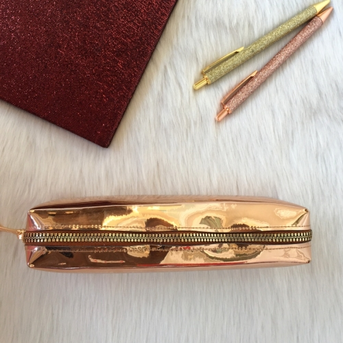 Metalik Parlak Tek Gözlü Kalem Kutu - Bronz