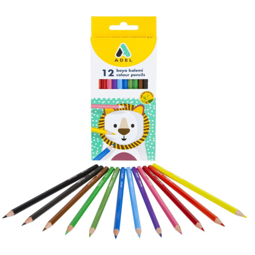 Adel 12 Renk Kuru Boya Kalemi Uzun