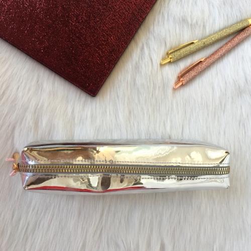 Metalik Parlak Tek Gözlü Kalem Kutu - Gri