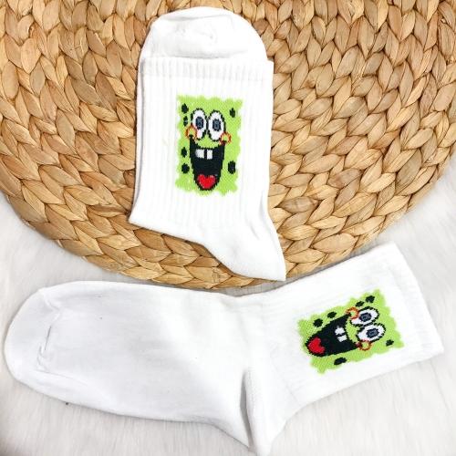 Sünger Bob Desenli Çorap - Yeşil