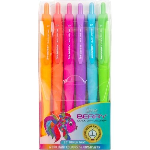 Serve Berry Parlak Renkler 6lı Jel Tükenmez Kalem Seti