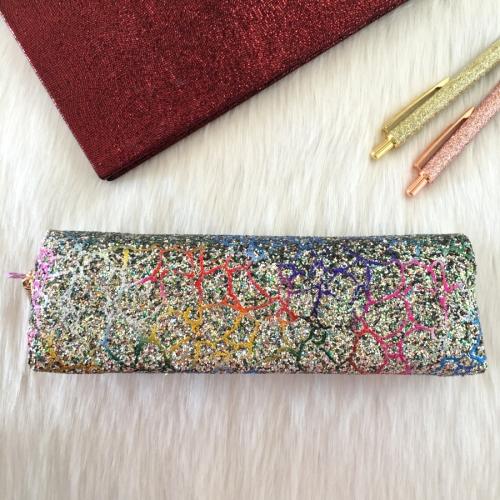 Swarovski Taşlı Yılan Derisi Kalem Kutu - Renkli