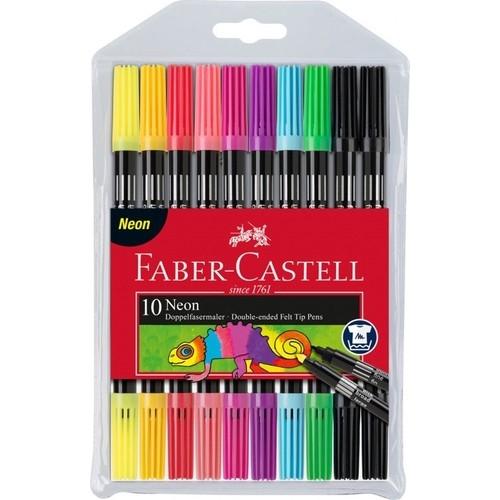 Faber Castell Neon 10 Renk Çift Taraflı Keçeli Kalem