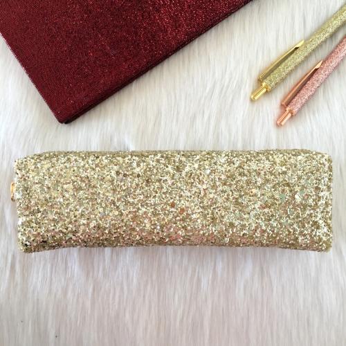 Swarovski Taşlı Tek Gözlü Kalem Kutu - Gold